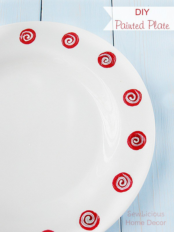 DIY hand painted polka dot swirl plate (via sewlicioushomedecor.com)