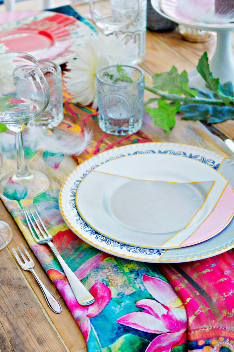 DIY pastel and geometrical dinnerware from thrifty plates (via www.lanaredstudio.com)