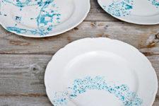 DIY subtle blue doily plates