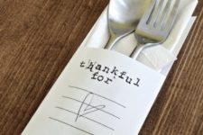 DIY paper utensils envelope for Thanksgiving