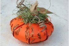 DIY 3D paper pumpkin from an orange paper flower