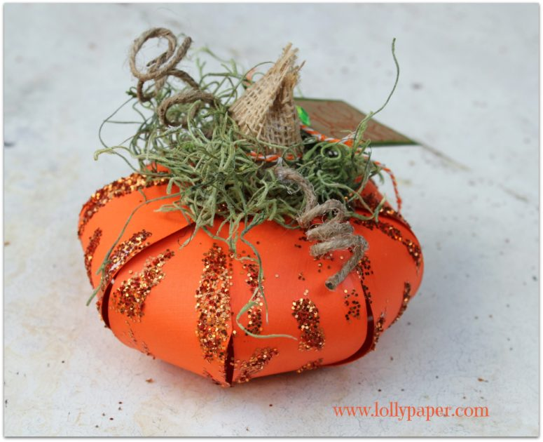 DIY 3D paper pumpkin from an orange paper flower (via lollypaper.com)