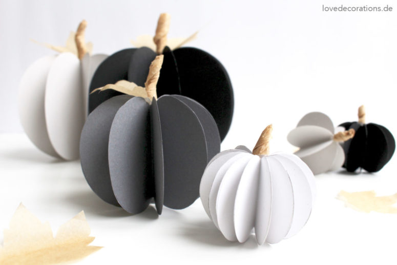 DIY modern voluminous paper pumpkins (via https:)