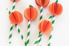 DIY paper pumpkin straw toppers