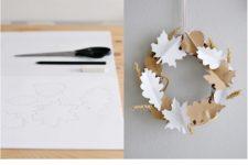 DIY simple paper leaf and spike wreath