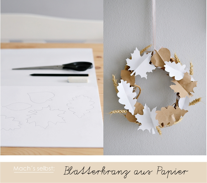 DIY simple paper leaf and spike wreath (via sinnenrausch.blogspot.ru)