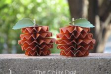 DIY accordion fold paper pumpkin decor