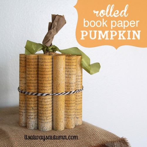 DIY rolled book paper pumpkin tied with strings (via www.shelterness.com)
