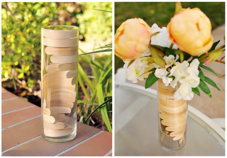 DIY bent popsicle sticks to decorate a vase (via www.thecheesethief.com)