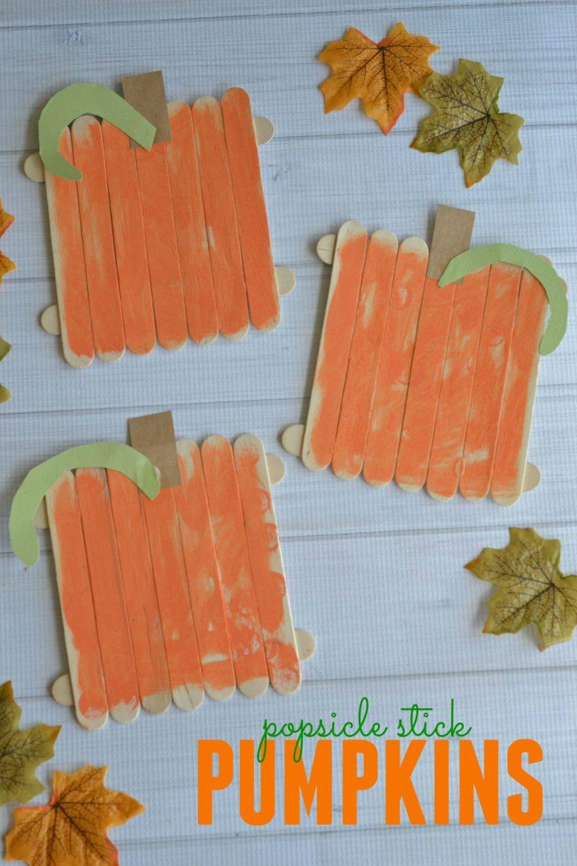 DIY kids' popsicle stick pumpkin  (via https:)