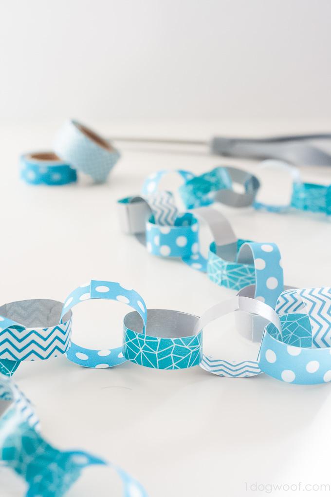 DIY washi tape paper chain for decor (via www.1dogwoof.com)