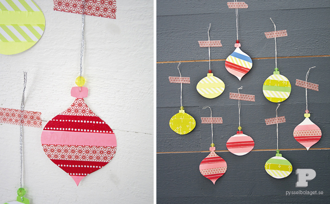 DIY washi tape ornaments attached to the wall (via thesoutherninstitute.com)