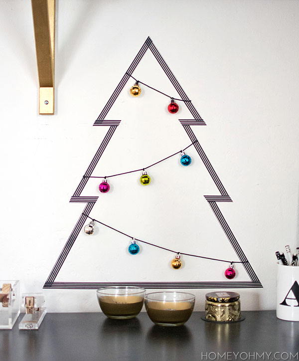 DIY washi tape Christmas tree with ornaments (via www.homeyohmy.com)