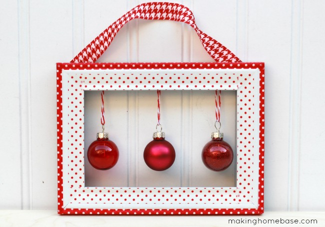 DIY washi tape wall hanging with ornaments (via www.makinghomebase.com)