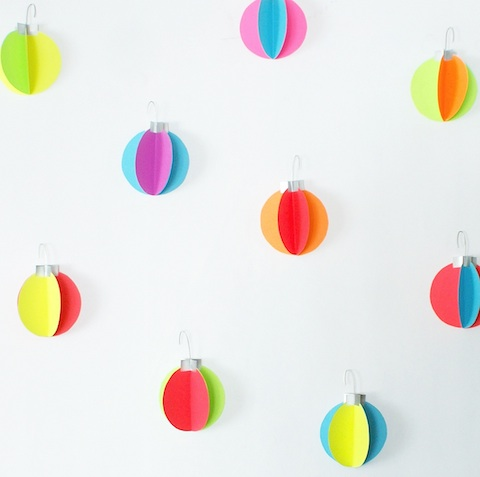 DIY neon ornaments wall decals (via www.hellolucky.com)
