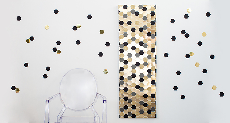 DIY hexagon wall art of metallic and glitter paper (via www.taradennis.com)