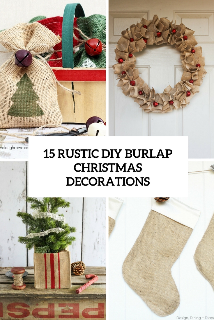 rustic 15 diy burlap christmas decorations cover - Burlap Christmas Decorations