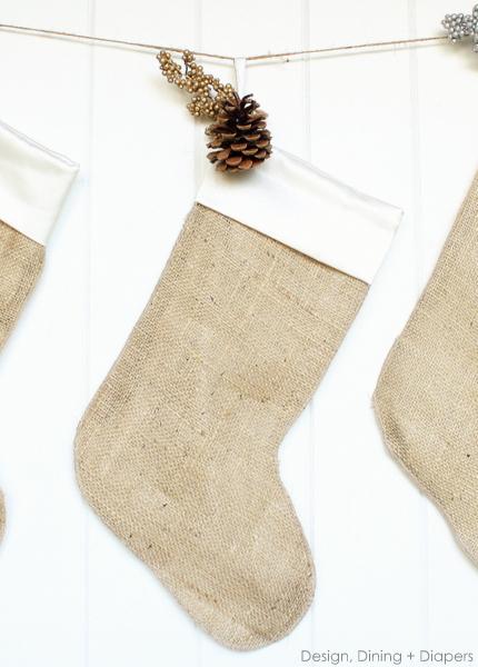 DIY burlap christmas stockings (via designdininganddiapers.com)