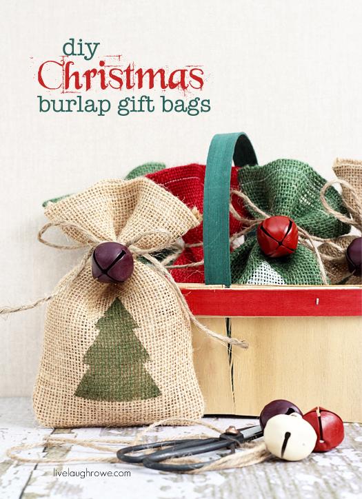 DIY burlap gift bags with fir tree stamps (via livelaughrowe.com)