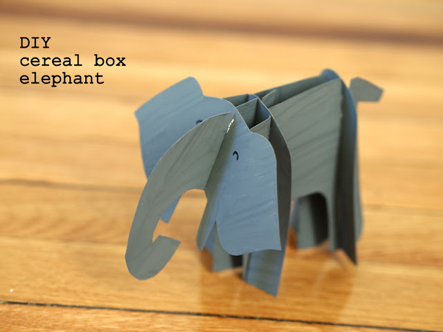 DIY cereal box cardboard elephant (via www.pinkstripeysocks.com)