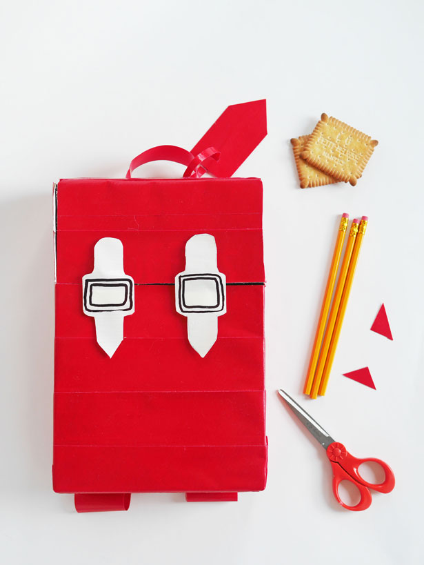 DIY recycled cereal box backpack for kids