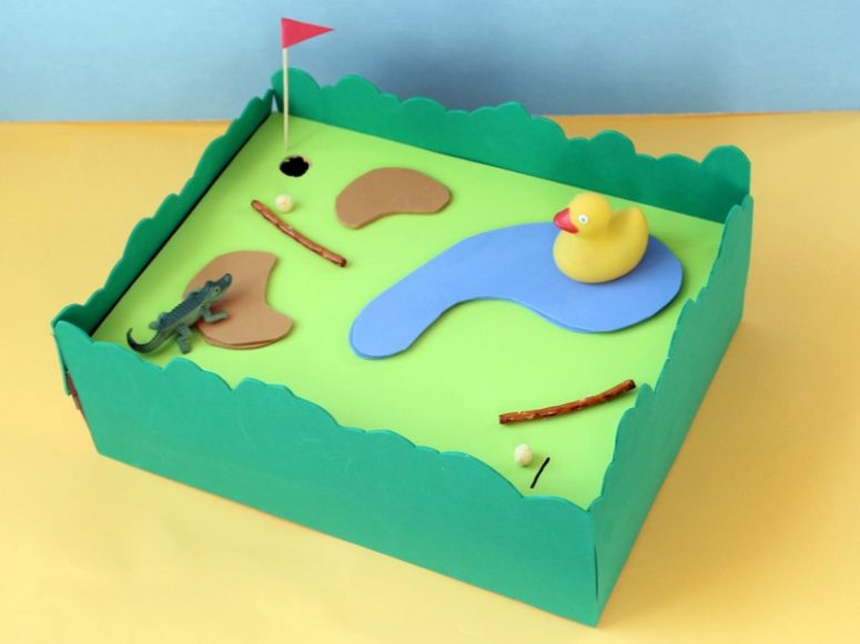 DIY cereal box summertime mini golf (via kixcereal.com)
