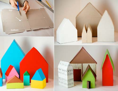 DIY cereal box village (via www.handmadecharlotte.com)