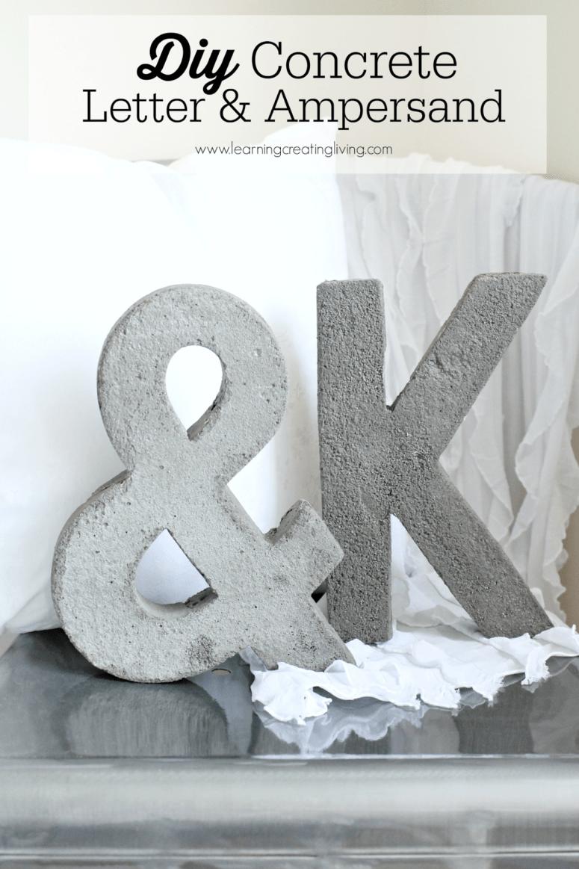 DIY concrete letter and ampersand (via www.katelynchantelblog.com)