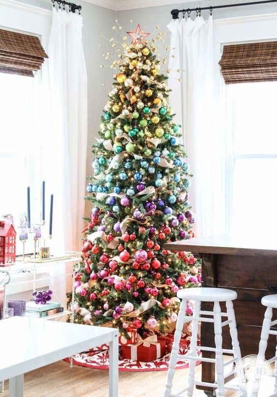 23 colorful christmas tree d cor ideas shelterness Christmas decorations interior design