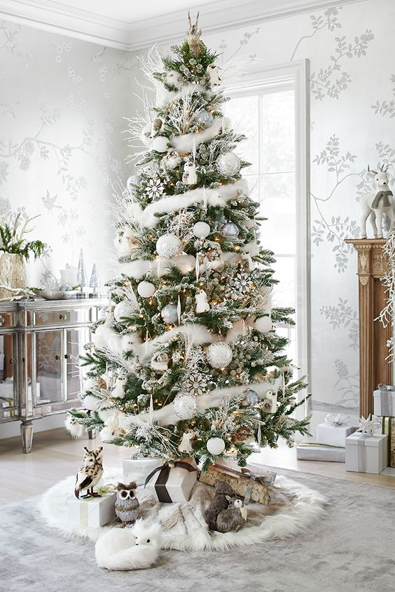 a faux fur tree skirt and garland on the tree remind of snow
