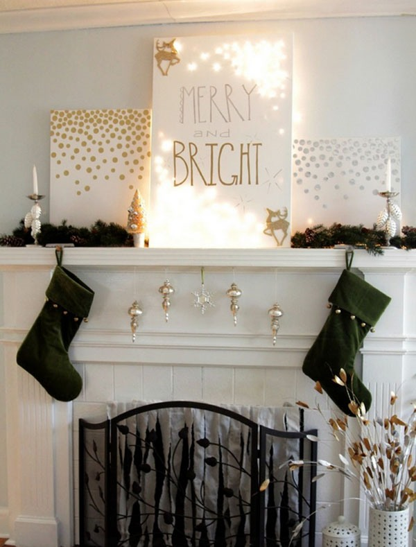 a lit up sign, stockings and ornaments