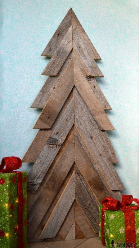 a rustic Christmas tree from barnwood