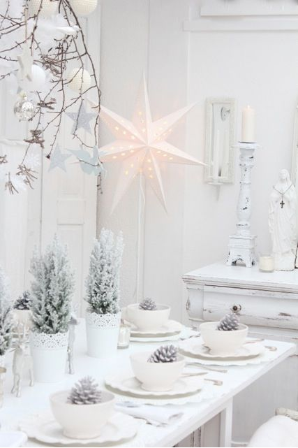 winter wonderland with frosty and snowy decor, pinecones and small snowy trees