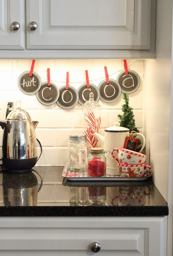 a chalkboard banner and a small hot cocoa nook