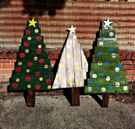 bold painted Christmas trees with vertical and horizontal boards
