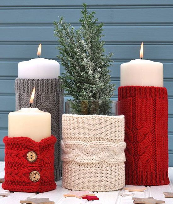 colorful cable knit candles and candle holders