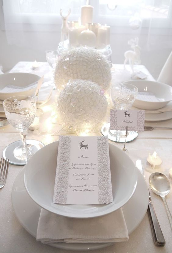 white tablescape with oversized snow-inspired ornaments and porcelain