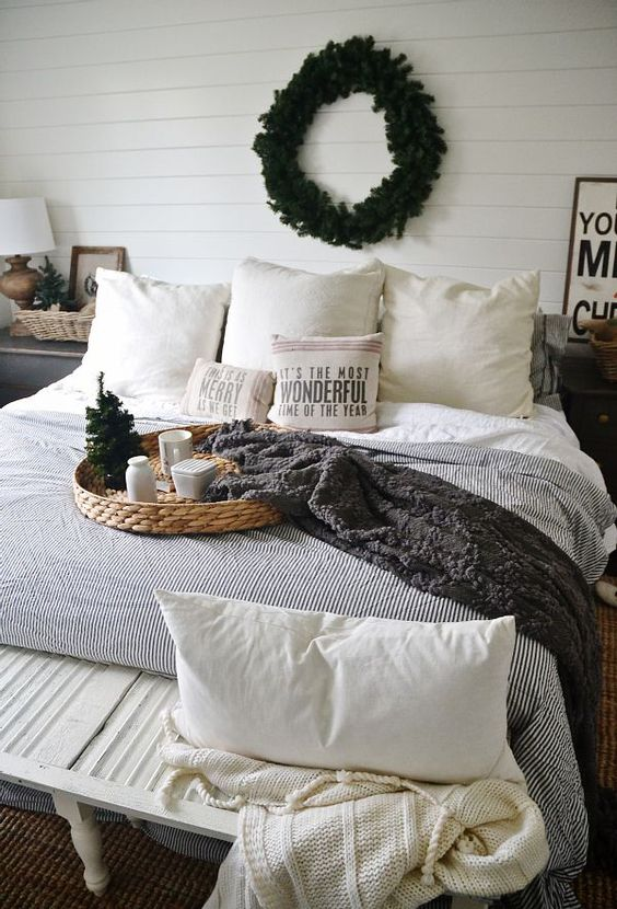 a fir wreath and a couple of branches will make your bedroom cozier and won't look too much