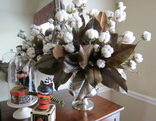 magnolia branches and cotton balls for a southern-style arrangement