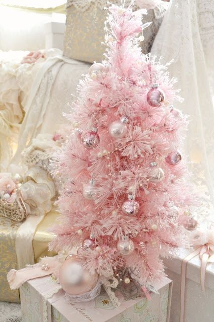 White Christmas Tree Pink Lights