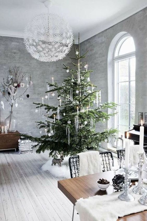 a white fur tree skirt, table runner and chair throws