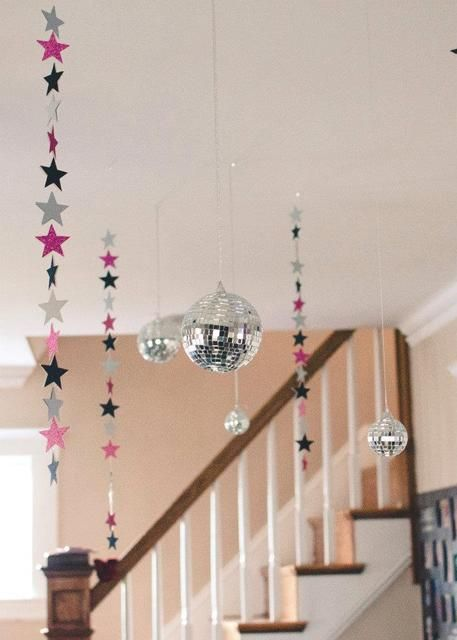 disco balls hanging from the ceiling