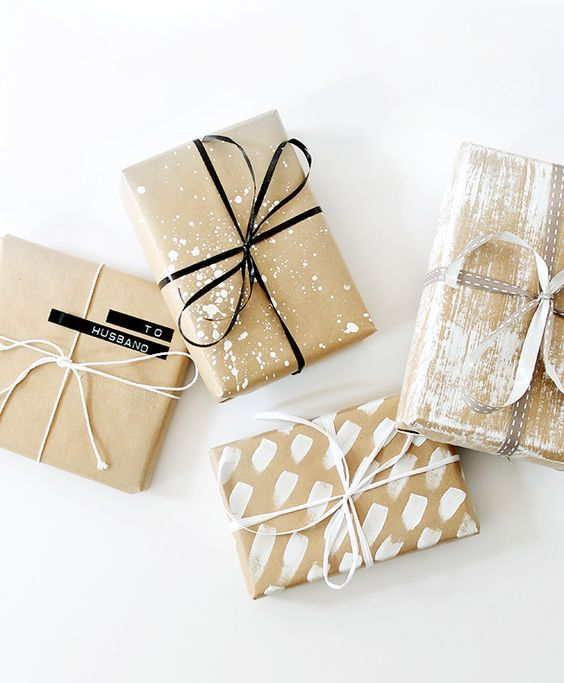 kraft paper painted in various styles and ribbon