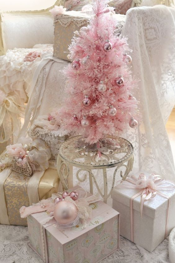 subtle Christmas tree in pink, tiny pink ornaments