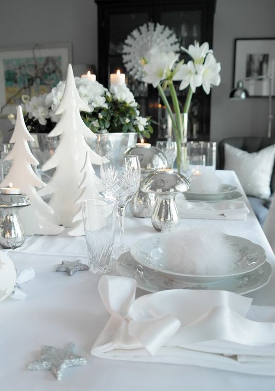 white table setting with faux fur, silver strs and Christmas flowers