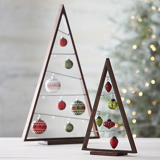 pallet tabletop Chrsitmas tree frames with ornaments hanging inside