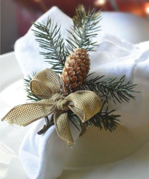 pinecone, burlap and fir twig napkin ring