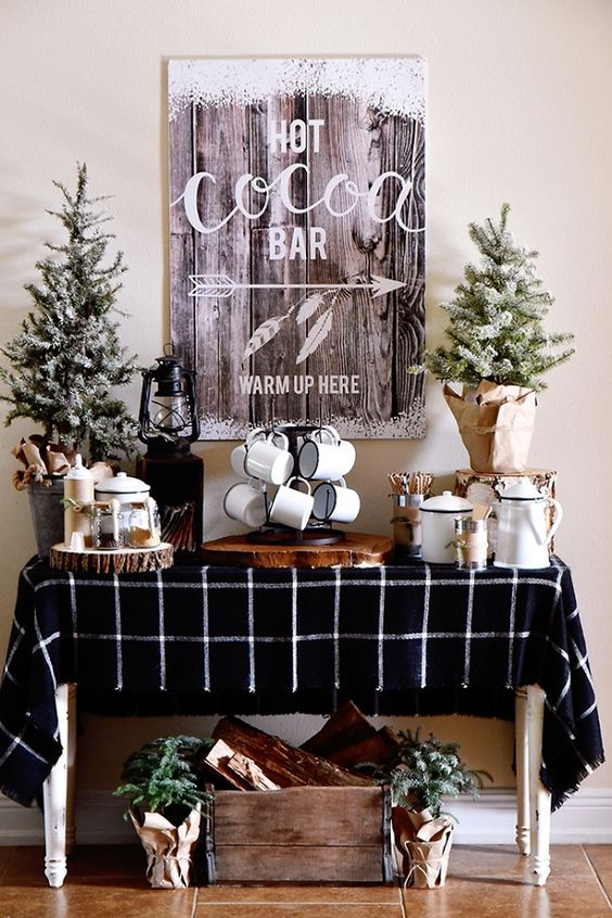 place a separate table if there's enough space, and decorate it in the rustic vintage style