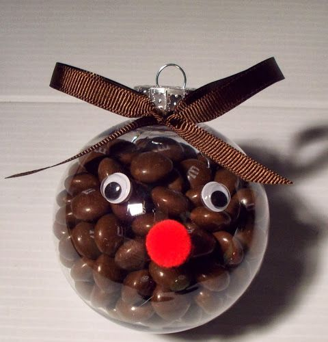 reindeer ornament filled with chocolate candies