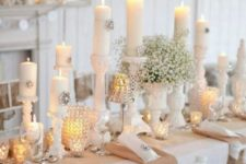 08 charming white vintage tablescape with baby's breath and candles